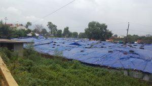 Tältläger i centrala Kathmandu, för alla som förlorat sina hem i jordbävningen förra året