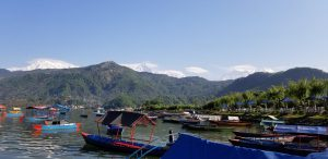 View in Pokhara of Phewa Lake and the Himalayans